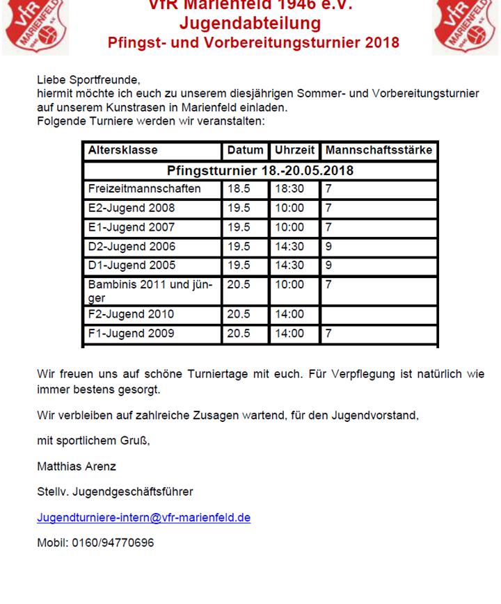 Pfingstturnier – 18.05. bis 20.05.2018